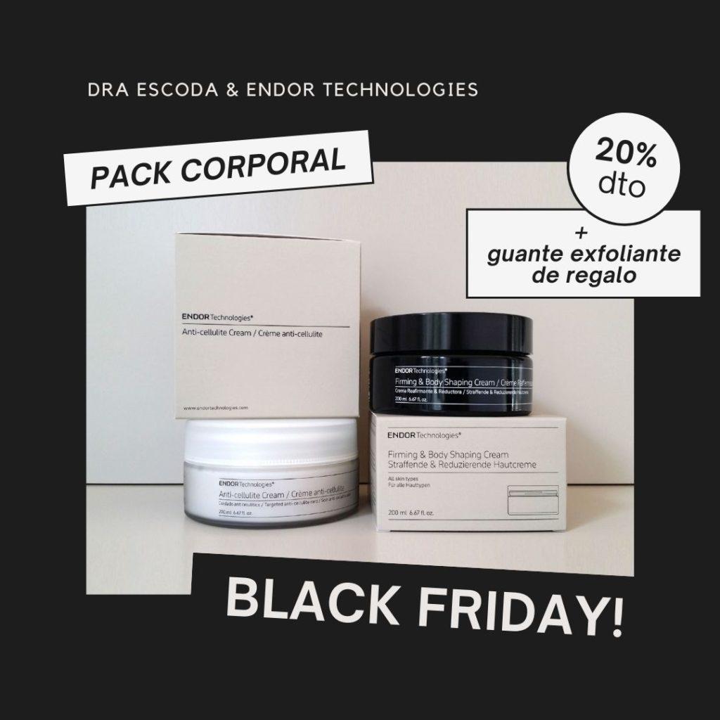 Pack corporal de Endor Technologies que incluye una crema reafirmante o una crema anticelulítica con un 20% de descuento y un guante exfoliante de regalo