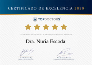Certificado de Excelencia Top Doctors para Dra Nuria Escoda