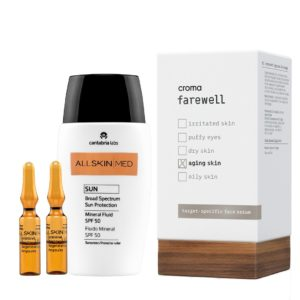 Pack de Verano Antioxidante para pieles envejecidas. Ampollas intensivas de vitamina C, serum antiaging hidratante y protección solar SPF +50