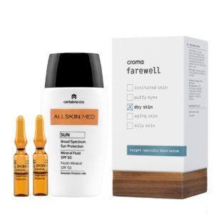 Pack de Verano Antioxidante para pieles secas. Ampollas intensivas de vitamina C, serum antiaging hidratante y protección solar SPF +50