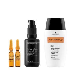 Pack de Verano Antioxidante Esencial. Ampollas intensivas de vitamina C, serum hidratante y protección solar SPF +50