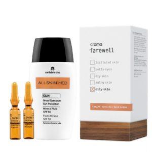 Pack de Verano Antioxidante para pieles grasas. Ampollas intensivas de vitamina C, serum antiaging hidratante y protección solar SPF +50